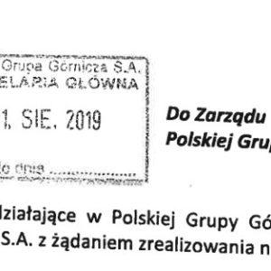 Pismo do Zarządu PGG.